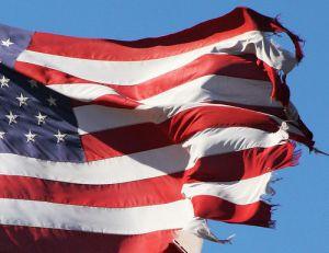 torn US flag