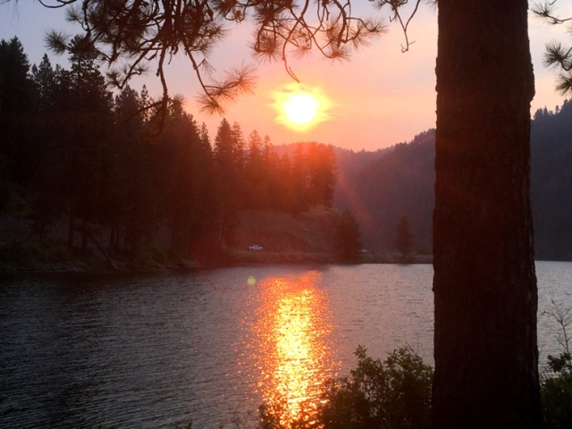 Smokey Sunrise over Fernan Lake